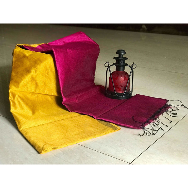 Yellow Handloom Tussar & Cotton Mixed Saree with Pink Pallu
