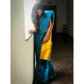 Blue Handloom Tussar & Cotton Mixed Saree with Yellow Pallu - Indianloom