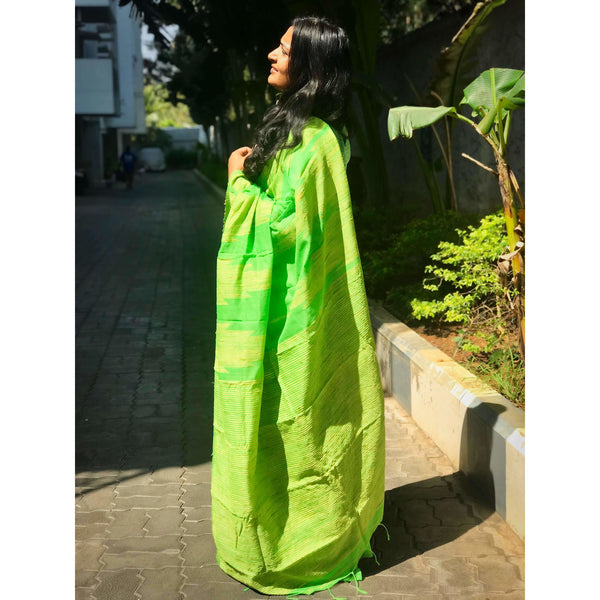 Green Handloom Silk by Soft Cotton Saree with Temple Jamdani Work & Gicha Pallu - Indianloom