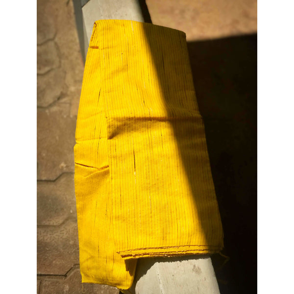 Yellow Handloom Silk by Soft Cotton Saree with Temple Jamdani Work & Gicha Pallu