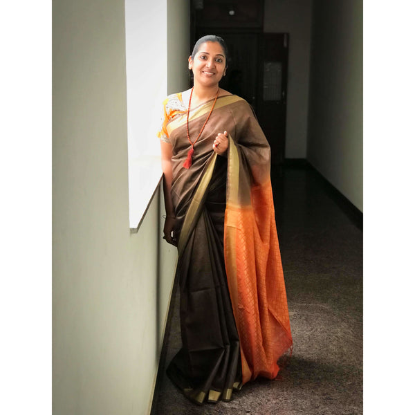 Brown & Orange Cotton Silk Saree - Indianloom