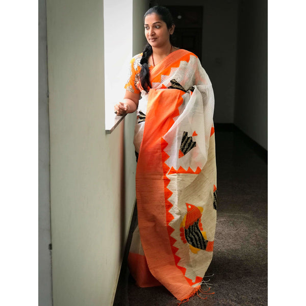 Off White & Orange Silk by Noil Saree with Applique Work - Indianloom