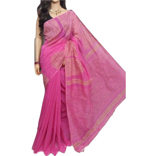 Pink Handloom Silk by Soft Cotton Saree with Temple Jamdani Work & Gicha Pallu - Indianloom