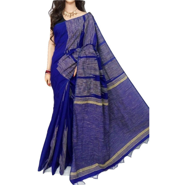 Blue Handloom Silk by Soft Cotton Saree with Temple Jamdani Work & Gicha Pallu - Indianloom