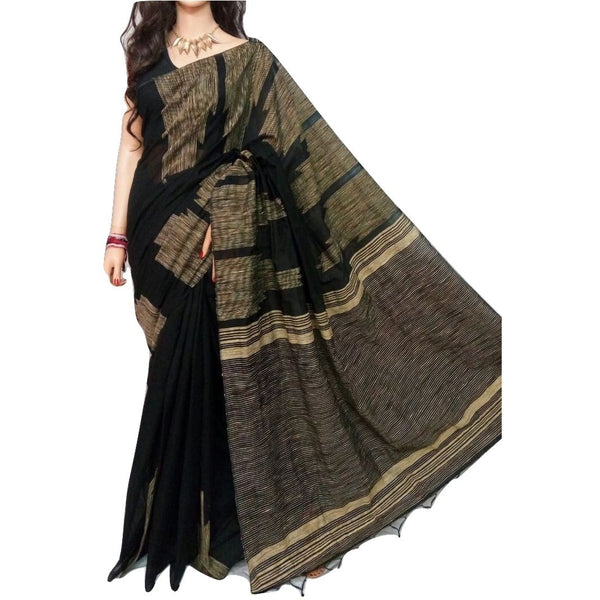 Black Handloom Silk by Soft Cotton Saree with Temple Jamdani Work & Gicha Pallu - Indianloom