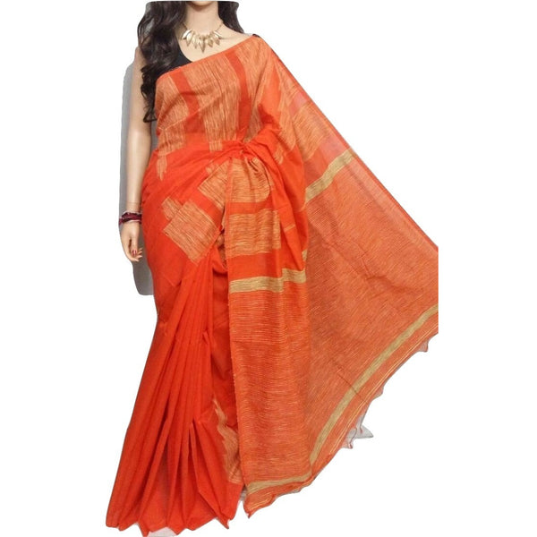 Orange Handloom Silk by Soft Cotton Saree with Temple Jamdani Work & Gicha Pallu - Indianloom