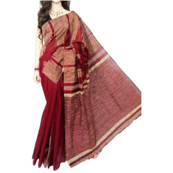 Maroon Handloom Silk by Soft Cotton Saree with Temple Jamdani Work & Gicha Pallu - Indianloom