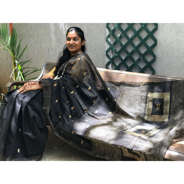 Black Handloom Silk by Soft Cotton Saree with Box Jamdani Work & Gicha Pallu - Indianloom