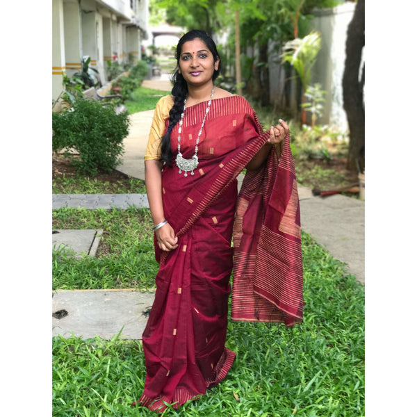 Maroon Silk by Soft Cotton Saree with Box Jamdani Work & Gicha Pallu - Indianloom