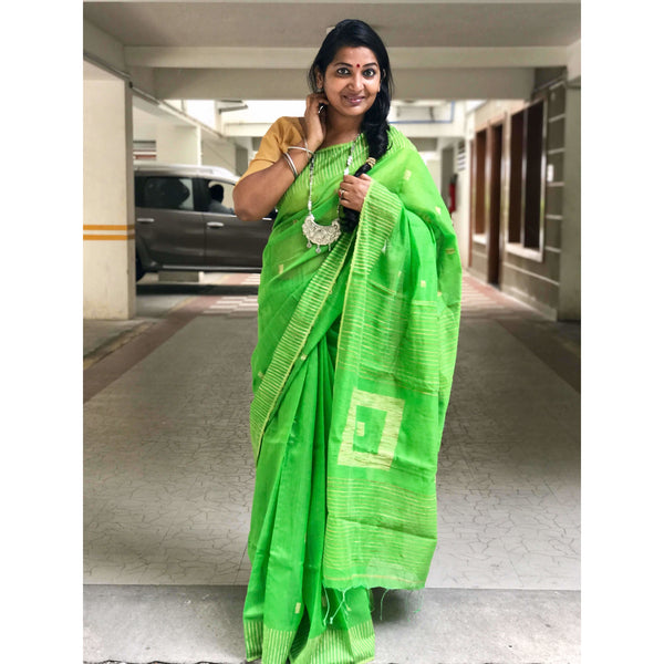 Light Green Silk by Soft Cotton Saree with Box Jamdani Work & Gicha Pallu - Indianloom