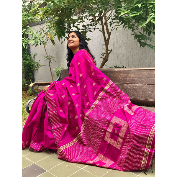 Magenta Silk by Soft Cotton Saree with Box Jamdani Work & Gicha Pallu - Indianloom