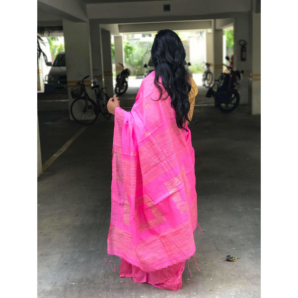 Pink Silk by Soft Cotton Saree with Box Jamdani Work & Gicha Pallu - Indianloom