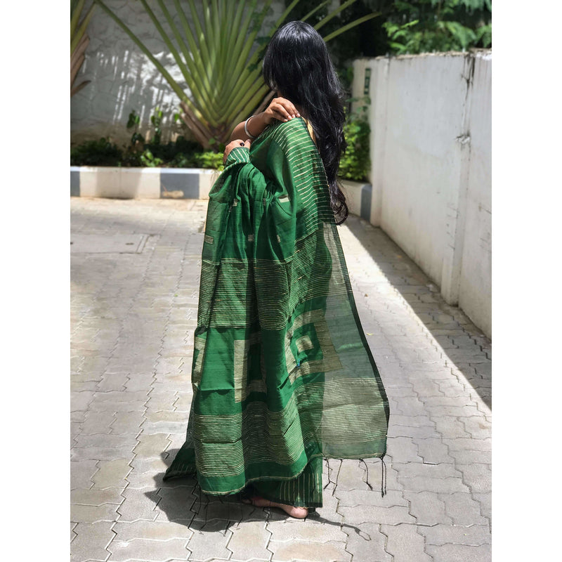Dark Green Silk by Soft Cotton Saree with Box Jamdani Work & Gicha Pallu - Indianloom