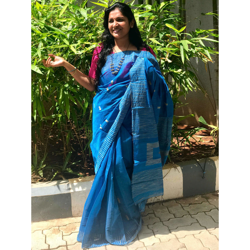 Blue Silk by Soft Cotton Saree with Box Jamdani Work & Gicha Pallu - Indianloom