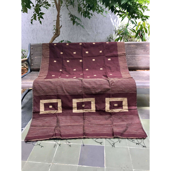 Brown Silk by Soft Cotton Saree with Box Jamdani Work & Gicha Pallu - Indianloom