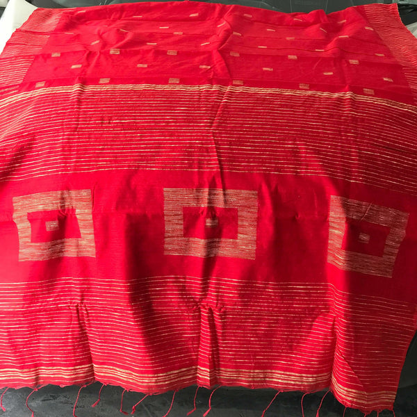 Red Silk by Soft Cotton Saree with Box Jamdani Work & Gicha Pallu