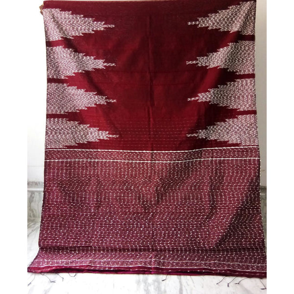 Maroon Silk by Soft Cotton Saree with Jamdani Work & Gicha Pallu - Indianloom