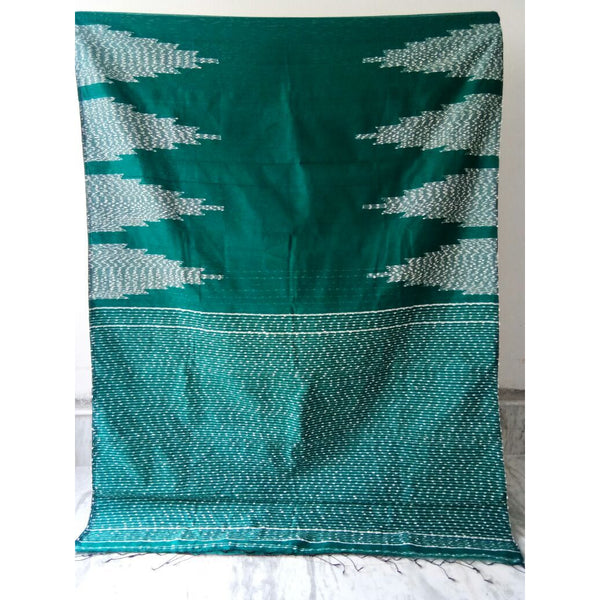 Green Silk by Soft Cotton Saree with Jamdani Work & Gicha Pallu - Indianloom