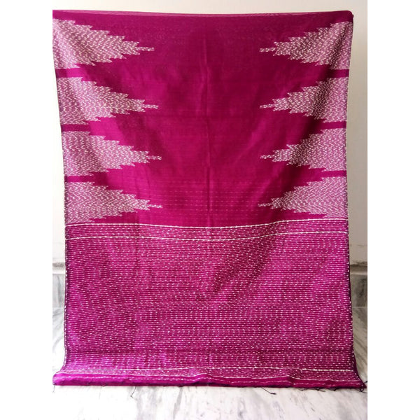 Magenta Silk by Soft Cotton Saree with Jamdani Work & Gicha Pallu - Indianloom