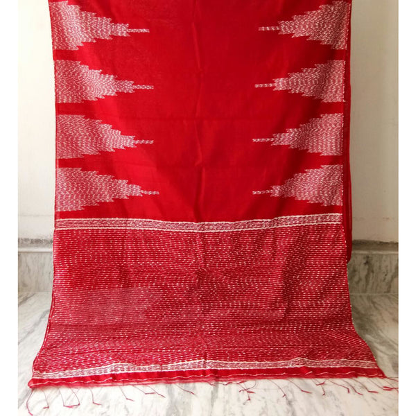 Red Silk by Soft Cotton Saree with Jamdani Work & Gicha Pallu
