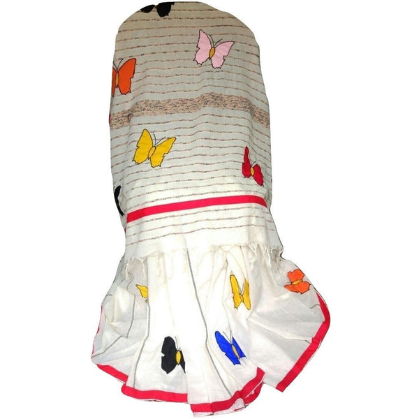 Off White Khes Cotton Saree with Butterfly Applique Work - Indianloom