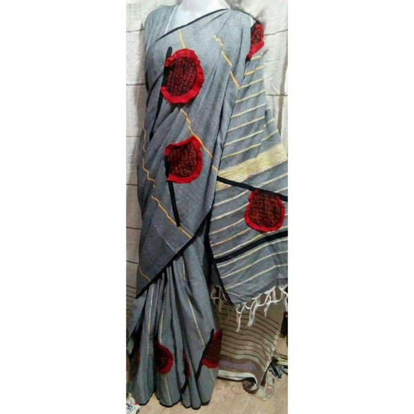 Grey Khes Cotton Saree with Hand Fan Applique Work - Indianloom