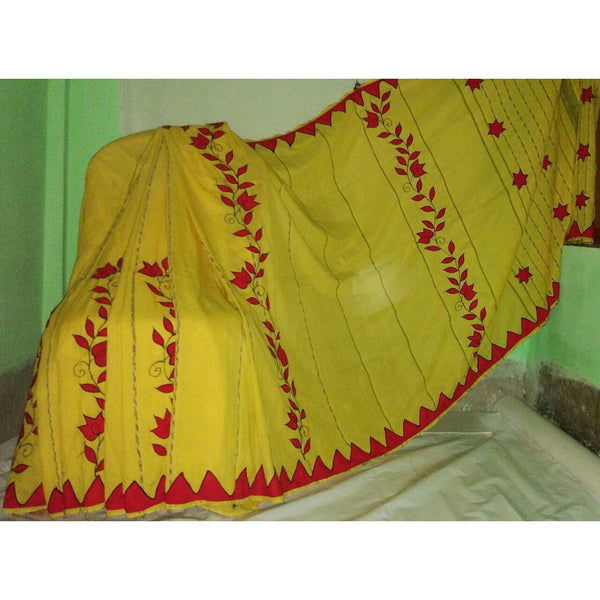 Yellow Khes Cotton Saree with Applique Work - Indianloom