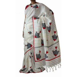 Off White Khes Cotton Saree with Fish Applique Work - Indianloom