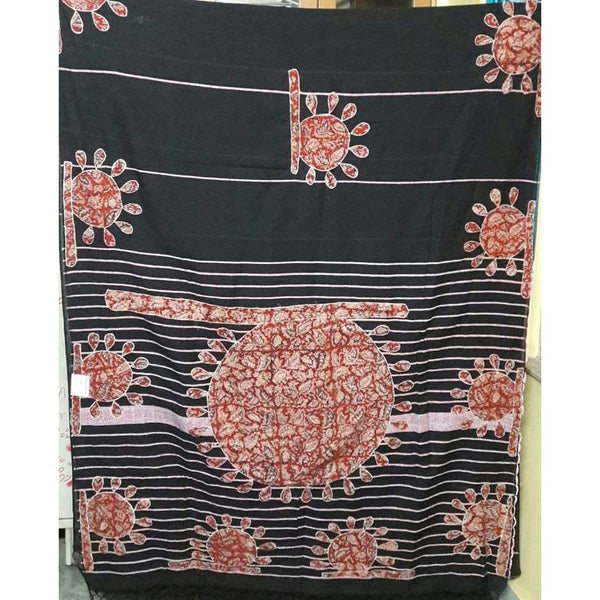 Black Khes Cotton Saree with Hand Fan Applique Work - Indianloom