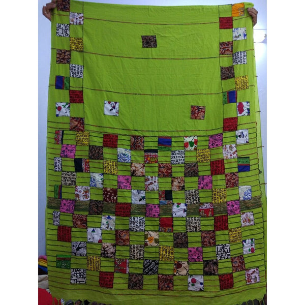 Green Khes Cotton Saree with Applique Work - Indianloom