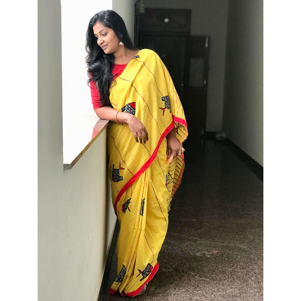 Yellow Khes Cotton Saree with Fish Applique Work