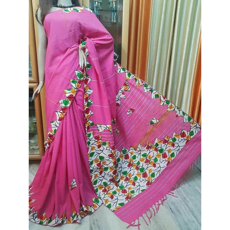 Pink Khes Cotton Saree with Applique Work - Indianloom