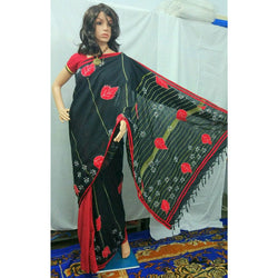 Black Khes Cotton Partly Saree with Leaf Applique Work - Indianloom