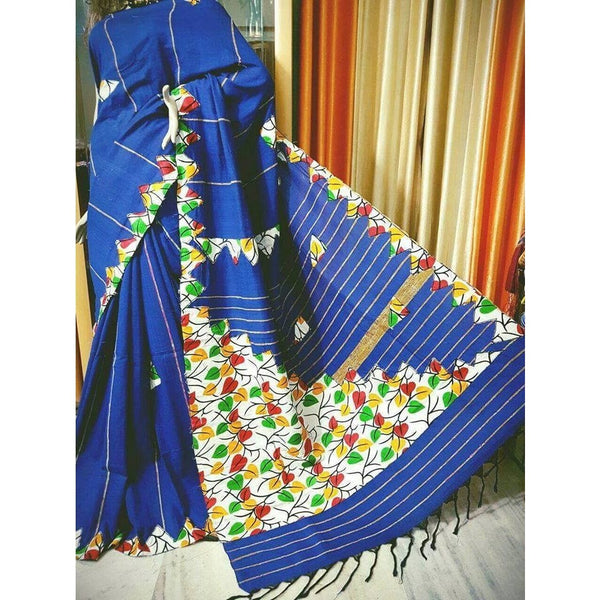 Blue Khes Cotton Saree with Applique Work - Indianloom
