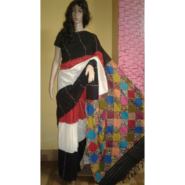 Black & Off White Khes Cotton Saree Applique Work - Indianloom