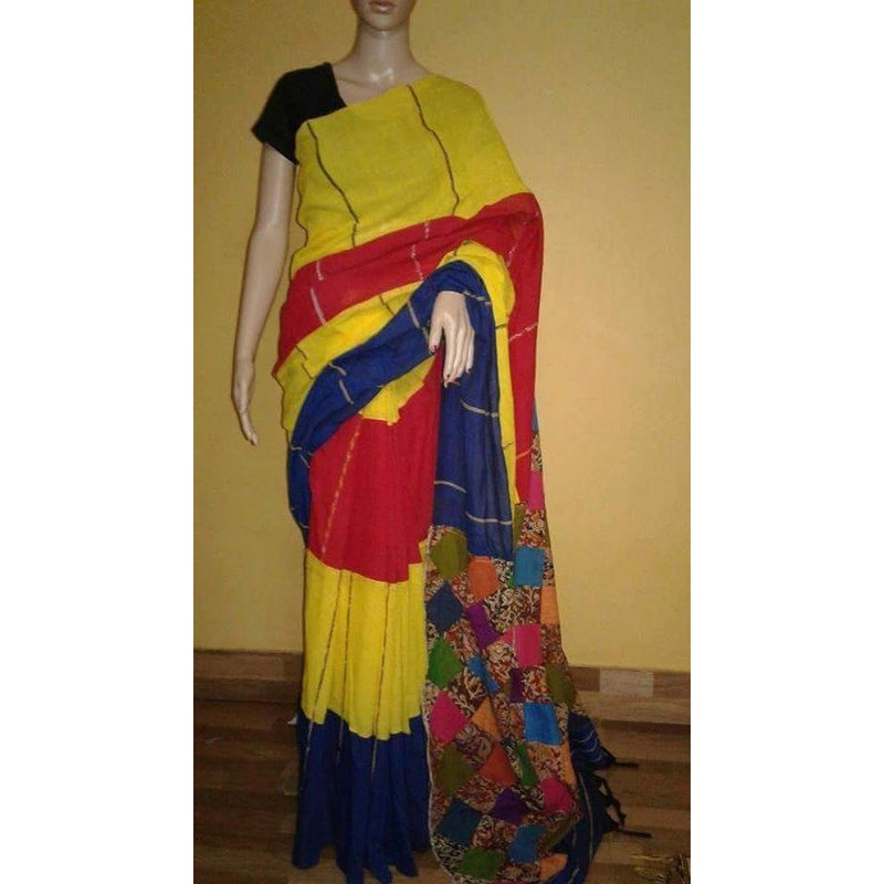 Yellow & Black Khes Cotton Saree Applique Work - Indianloom