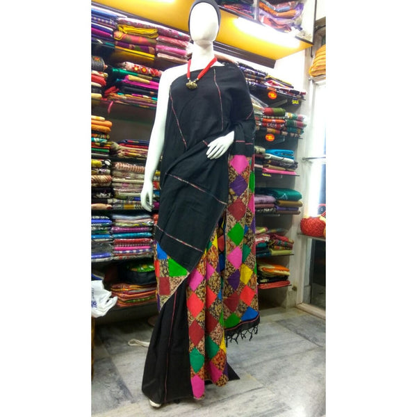 Black Khes Cotton Saree with Applique Work - Indianloom
