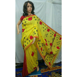 Yellow Khes Cotton Partly Saree with Leaf Applique Work - Indianloom