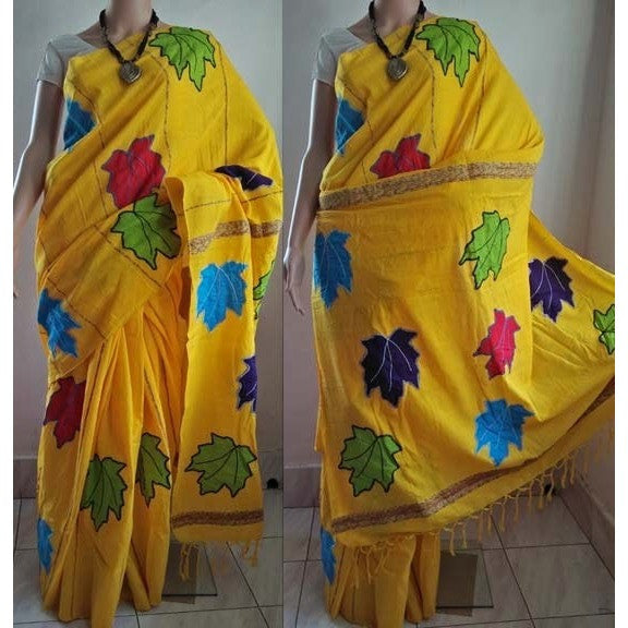 Yellow Khes Cotton Saree with Leaf Applique Work - Indianloom