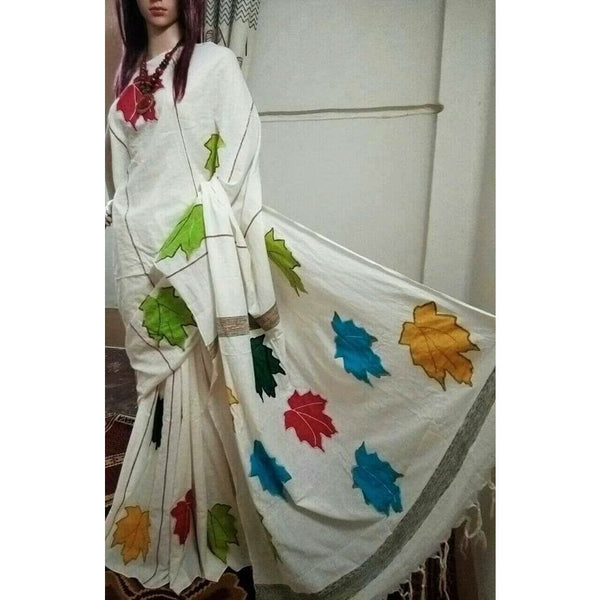 Off White Khes Cotton Saree with Leaf Applique Work - Indianloom