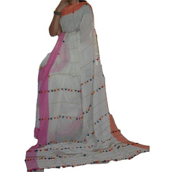 Off White Khes Cotton Saree with Pom Poms - Indianloom