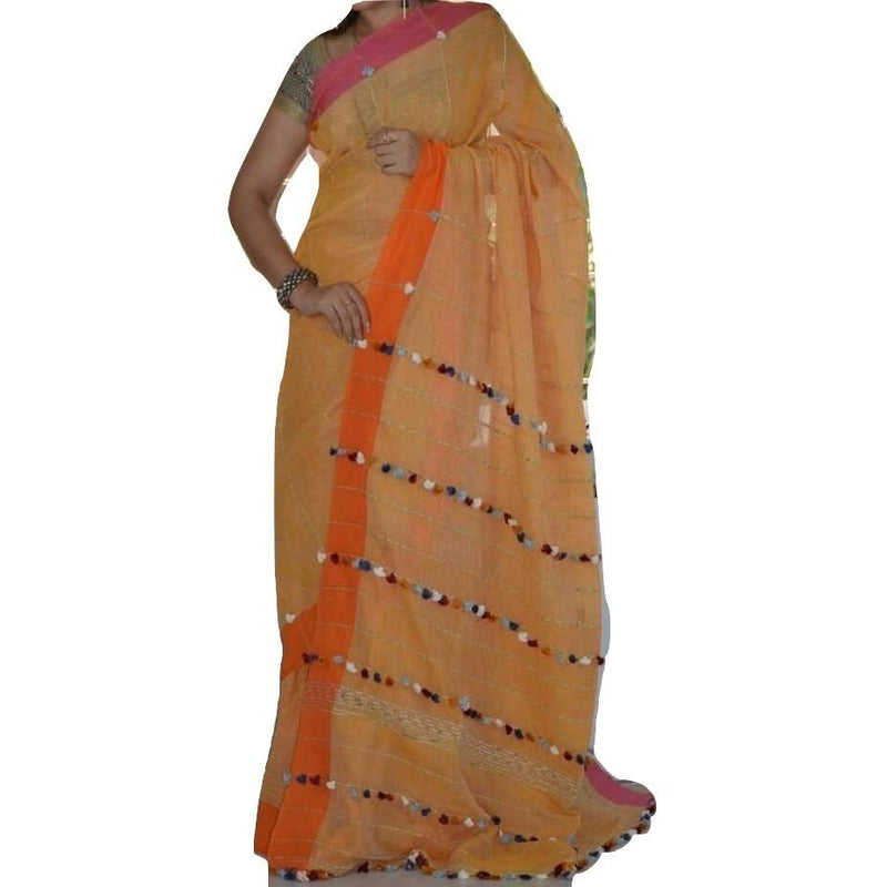 Orange Khes Cotton Saree with Pom Poms - Indianloom