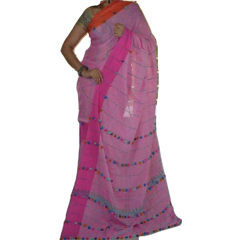 Pink Khes Cotton Saree with Pom Poms - Indianloom