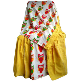 Mustard Yellow Khes Cotton Saree With Printed Owl Pallu