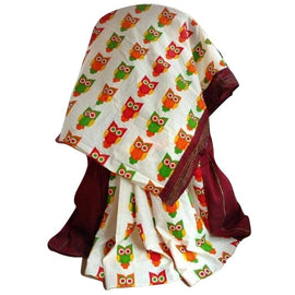 Maroon Khes Cotton Saree With Printed Owl Pallu