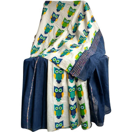 Royal Blue Khes Cotton Saree With Printed Owl Pallu