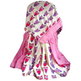 Light Pink Khes Cotton Saree With Printed Owl Pallu