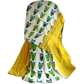 Yellow Khes Cotton Saree With Printed Owl Pallu