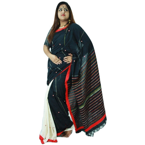 Black & Red Embroidered Khes Cotton Saree With Foil Mirror Work