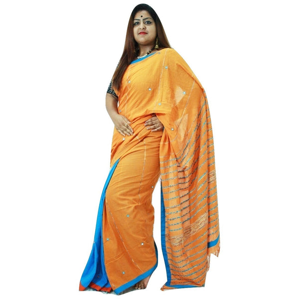 Yellow & Deep Sky Blue Embroidered Khes Cotton Saree With Foil Mirror Work